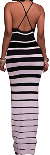 Black Bodycon Maxi Sexy Sleeveless Striped Dress Women's Spaghetti Strap Cromoncent qSTzpT