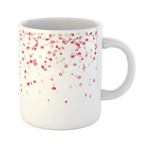 Semtomn Funny Coffee Mug Red Love Different Colored Confetti Hearts for Valentine Time 11 Oz Ceramic Coffee Mugs Tea Cup Best Gift Or Souvenir