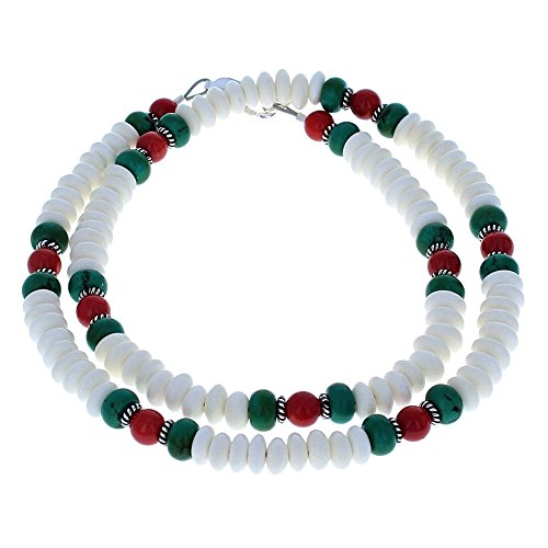 White Bone, Turquoise, Red Bamboo Coral & Sterling Silver Mens Beaded Necklace - 24