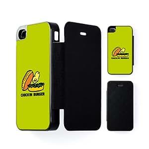 Chick In Burger Carcasa Protectora Snap-On Negra en Formato Duro para Apple® iPhone 4 / 4s de Chargrilled + Se incluye un protector de pantalla transparente GRATIS