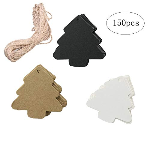BinaryABC Christmas Tree Gift Tags, Paper Tags, Price Tags with String,DIY Kraft Blank Hang tag 150pcs(3 Different Colors)