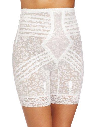 Rago Women's Hi Waist Long Leg Shaper, White, Large (30) ()