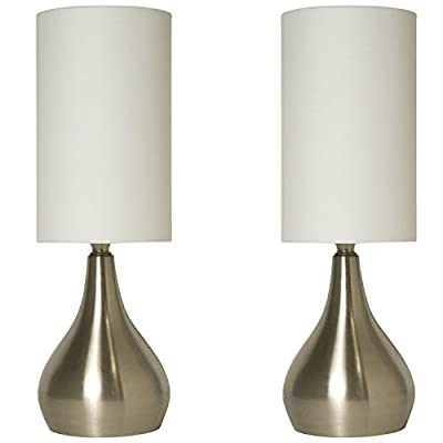 Modern Style Table Touch Lamp / Light with White Fabric Shade (2 Pack Set)