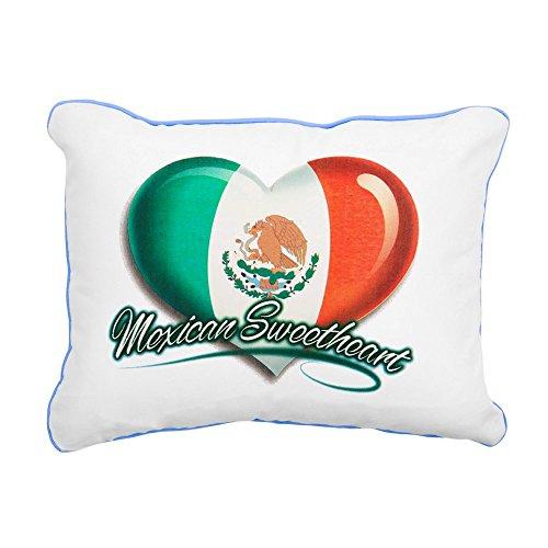 Rectangular Canvas Throw Pillow Caribbean Blue Mexican Sweetheart Mexico Flag by Royal Lion