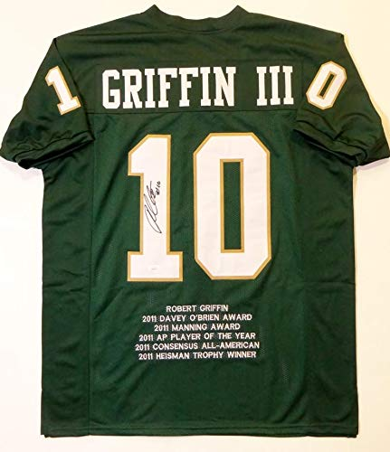 Robert Griffin III Autographed Green College Style STAT Jersey - JSA W Auth Black