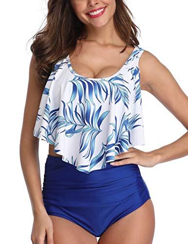 (Mycoco Women's High Waist Bikini Crop Flounce Two Piece Swimsuits Flowy Bathing Suit Blue with Leaves US 4-6)