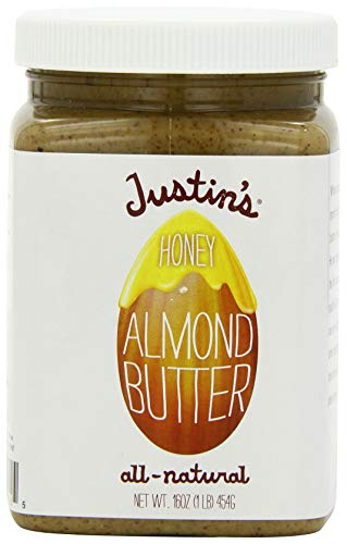 (Honey Almond Butter by Justin's, No Stir, Gluten-free, Non-GMO, Responsibly Sourced, 16oz Jar)