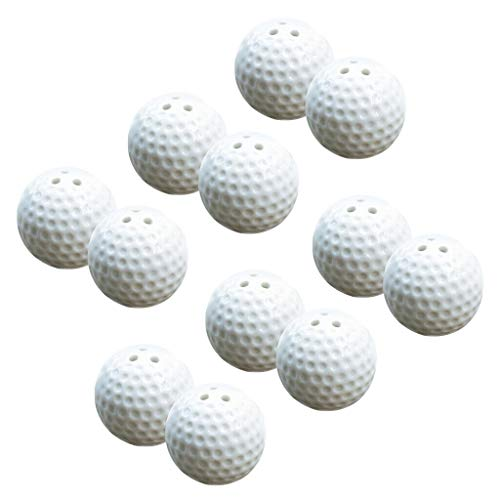 BROSCO 12 Pieces Golf Ball Salt and Pepper Shakers Set Wedding Party Gift Favors ()