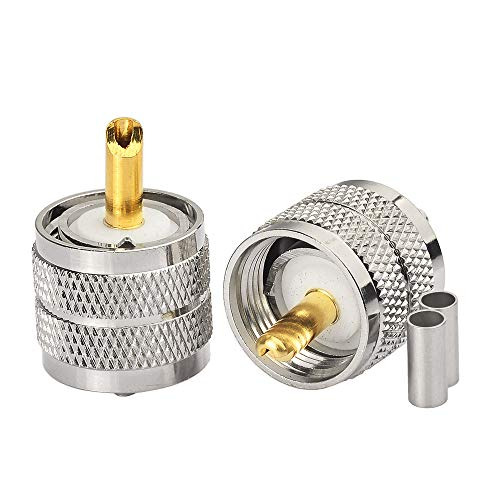 (wlaniot PL-259 Connectors Crimp PL 259 UHF Male Plug RF Coaxial Connector Straight for LMR-100 RG174 RG178 RG316 Coax Cable 2Pcs)