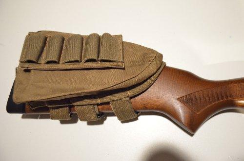 AcidTactical Buttstock Shotgun Rifle Shell Holder & Cheek Rest Pouch FDE Flat Dark Earth Tan
