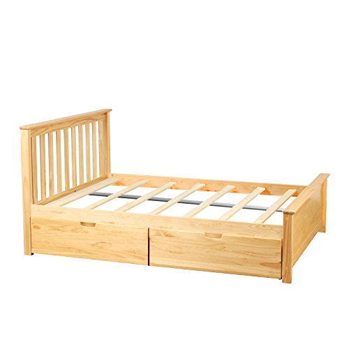 - Max & Lily Solid Wood Full-Size Bed with Under Bed Storage Drawers, Natural