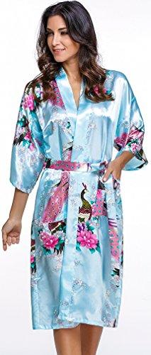 FLYCHEN Mujer Vestido Kimono Floral Satén Largo Pijamas Azul claro