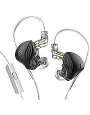 KZ ZEX Statische Dynamic Drive Hybrid Oortelefoon HiFi Bass Oordopjes Sport Passieve Ruisonderdrukking HD Headset Afneembare Kabel (Met microfoon, zwart)