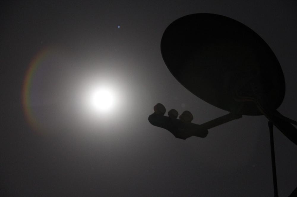 LAMINATED 36x24 inches Poster: Satellite Dish Night Moon Technology Antenna Communication Internet Network Television Signal Wireless Digital Radio Global Data Radar Media Information Tv