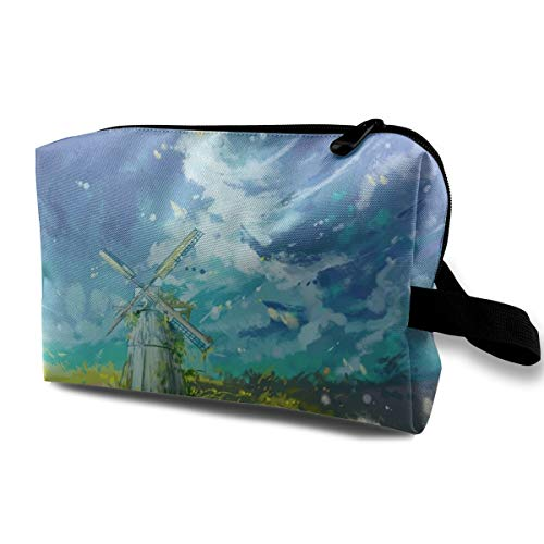 (Storage Bag Travel Pouch Watercolor Windmill Purse Organizer Power Bank Data Wire Cosmetic Stationery Holder)
