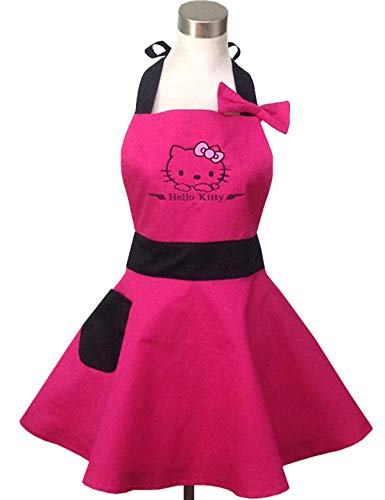 Lovely Hello Kitty Pink Retro Kitchen Aprons for Woman Girl Cotton Cooking Salon Pinafore Vintage Apron Dress -