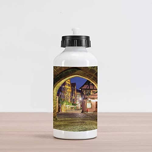 Lunarable Cityscape Aluminum Water Bottle, Riquewihr Alsace View France Through City Wall Gate at Night Historical Town Picture, Aluminum Insulated Spill-Proof Travel Sports Water Bottle, Brown
