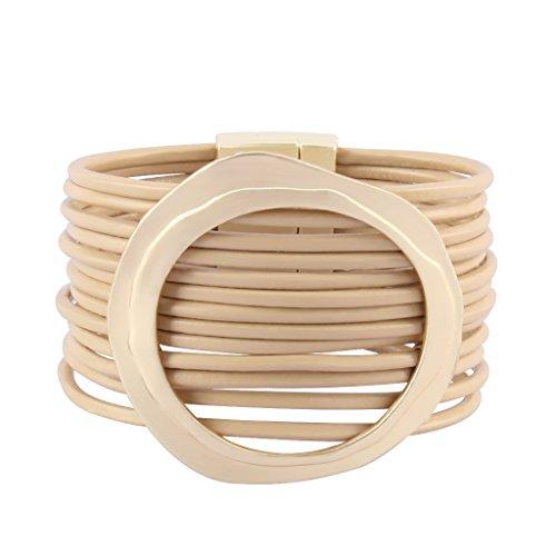 Bracelet Rope Fancy (Jenia Women Leather Cuff Bracelet Casual Handmade Rope Wrap Bracelet Boho Bangle for Girls, Mother Gift)