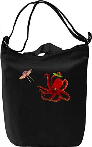 Space Octopus vs. UFOs Borsa Giornaliera Canvas Canvas Day Bag| 100% Premium Cotton Canvas| DTG Printing|