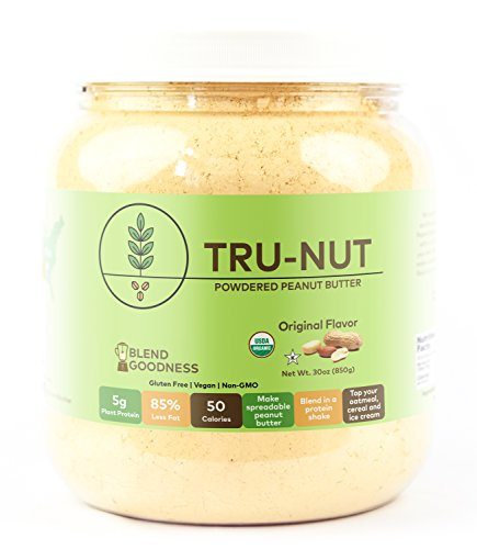 Tru-Nut Organic Powdered Peanut Butter (71 servings, 30oz jar) - Good Source of Protein - Gluten-Free, Vegan, Non GMO - Original - Peanut Powder Pb Butter Fit