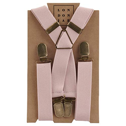 Elastic Suspenders for grooms, groomsmen, ring bearers attire with Brass Clips - By London Jae Apparel (Blush, Kids Small)