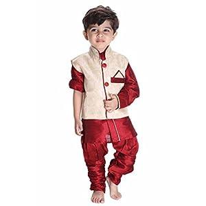 JBN Creation Boys Cotton Silk Kurta Modi Jacket and Breeches Set (Maroon_VASBJK060MA)