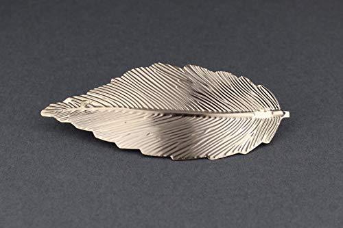(Gold Leaf Metal Barrette Curved Hair Clip Leaves 4