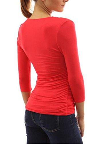 shirt T Collo 3 A V Maglietta Manica 4 Red Maglia Kerlana Moda Donna Sexy Camicetta Blusa qnfwwUBTY