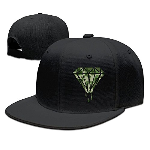 Diamond Military Camouflage Design Baseball Snapback Cap Black