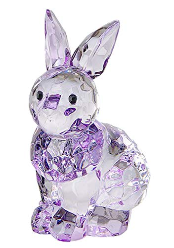 Ganz Crystal Expressions Sitting Bunny Rabbit Home Decor Multi-Faceted Lavender Clear Acrylic Tiny Figurine for Your Kitchen Table or Shelf (Purple)