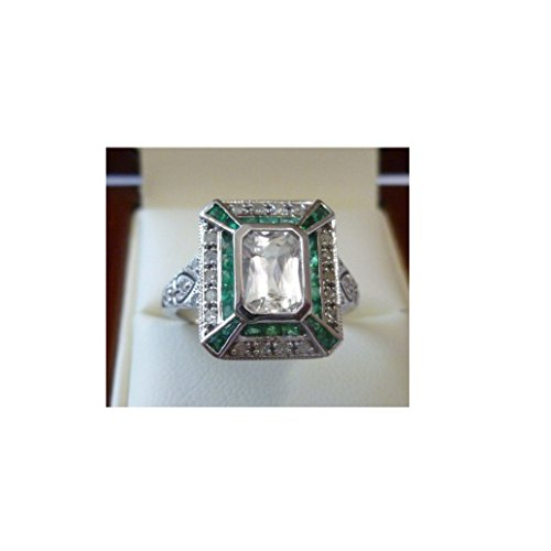 925 Sterling Silver Art Deco D/VVS 1.50Ct Main Stone White Emerald,GreenRound Cut Diamond Engagement, Wedding, Anniversary, Love ,Ring Sizes In 4-13 - Co Designers Tiffany &