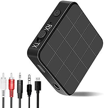 Adaptador Bluetooth,2 en 1 Transmisor Receptor Bluetooth 5.0 Inalámbrico con RCA & 3.5mm AUX para TV, Audio, Música Inalámbrico en Coche: Amazon.es: Electrónica