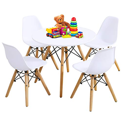 - Costzon Kids Table and Chair Set, Kids Mid-Century Modern Style Table Set for Toddler Children, Kids Dining Table and Chair Set, 5-Piece Set (White, Table & 4 Chairs)