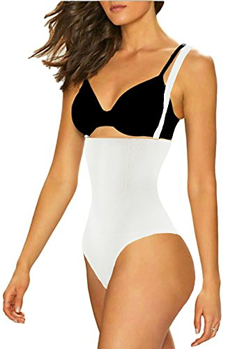 ShaperQueen 102A Thong - Women Waist Cincher Girdle Tummy Slimmer Sexy Thong Panty Shapewear Bodysuit (XL, White)