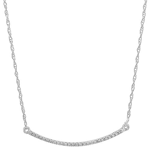 (Dazzlingrock Collection 0.10 Carat (ctw) 18K Round Diamond Ladies Bar Shape Pendant 1/10 CT, White Gold)