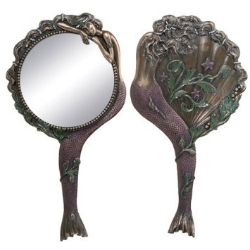 Art Nouveau Collectible Mermaid Hand Mirror Nymph Decoration