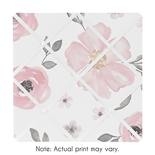 Sweet Jojo Designs Blush Pink, Grey and White Fabric Memory Memo Photo Bulletin Board for Watercolor Floral Collection by