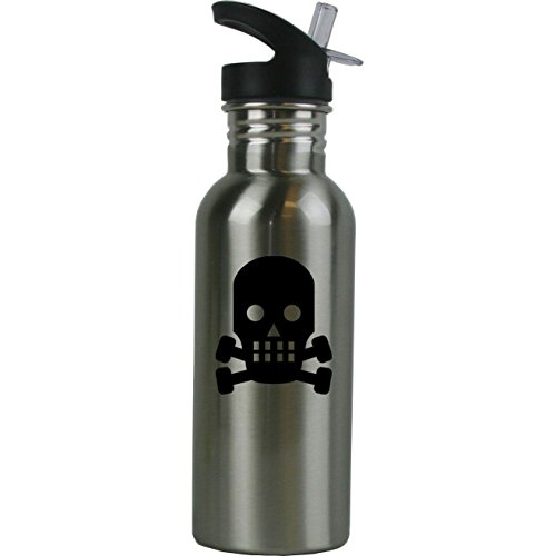 Personalized Custom Skull Stainless Steel Water Bottle with Straw Top 20 Ounce Sport Water Bottle Customizable