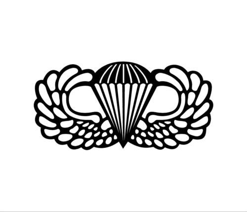 Airborne Jump Wings Vinyl Decal Car Window Bumper Sticker Army Paratrooper, 5 INCH Dye Cut Decal Sticker for Bumpers Windows Cars Laptops ETC