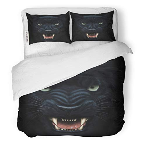 Semtomn Decor Duvet Cover Set King Size Black Angry Panther Face in Darkness Digital Painting Fierce 3 Piece Brushed Microfiber Fabric Print Bedding Set Cover ()