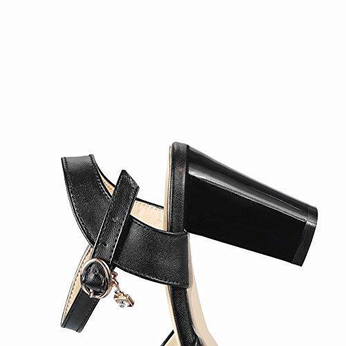 Mee Shoes Damen Blockabsatz Peep Toe Pailletten Sandalen Schwarz