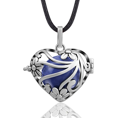 Eudora Harmony Bola MY Heart 18mm Angle Caller Bell Pregnancy Pendant Necklace & 30'' Chain Jean Blue ()