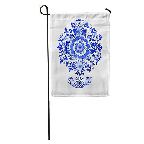 Semtomn Garden Flag Delft Blue Watercolour Traditional Dutch Floral Flowers in Circular Rosette Home Yard House Decor Barnner Outdoor Stand 28x40 Inches Flag