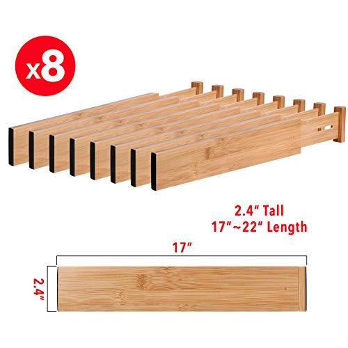 MoMA Bamboo Drawer Dividers (Set of 8) - Bamboo Natural Wood Kitchen Drawer Organizer - Anti-Scratch Desk Organizer - Dresser Silverware Utensil Drawer Organizer