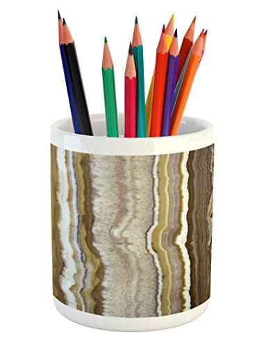 Onyx Vertical Line (Marble Pencil Pen Holder by Ambesonne, Onyx Marble Rock Themed Vertical Lines and Blurry Stripes in Earth Color Print, Printed Ceramic Pencil Pen Holder for Desk Office Accessory, Mustard Brown)