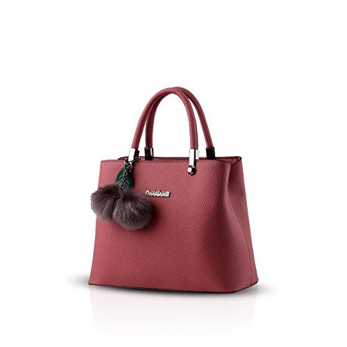 Nicole&Doris new bag female Korean Shoulder Messenger bag hanging hairball(Red wine) Red Wine