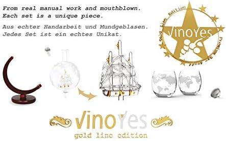 Jarra VinoYes Noble Whisky con Vasos Whisky Set de Hecho a Mano | Jarra de whisky con hermosa caja de regalo | Cierre hermético | 850 ml abcdefgh