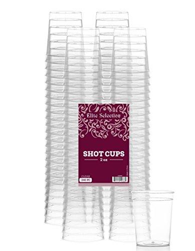 Elite Selection Pack Of 240 Disposable Party Hard Plastic 2 Oz. Shot Glasses (2 Oz Cups)