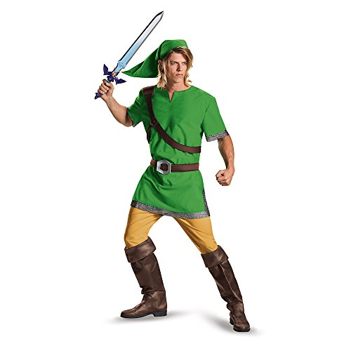 Disguise Men's Link Classic Adult Costume, Green, Medium - Video Game Costumes