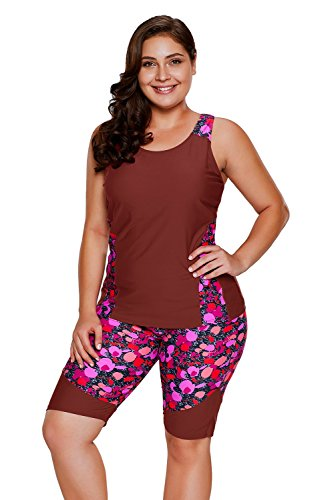 FlyMaff Burgundy Floral Insert Tankini and Short Sports Suit for Women M(8-10) ()